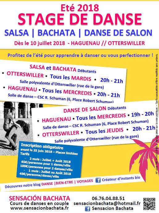stage été 2018 danse de salon saverne salsa bachata kizomba danse haguenau